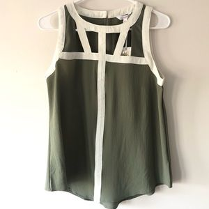 M Kohl's Candies Sage Green Cutout Sleeveless Tank